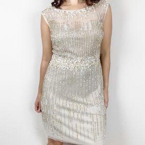 BHLDN Aidan Mattox Emeline champagne sequin dress